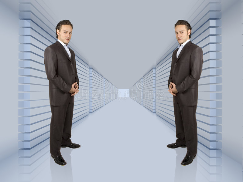 Business network. Business people lined up in a long hallway stock photo