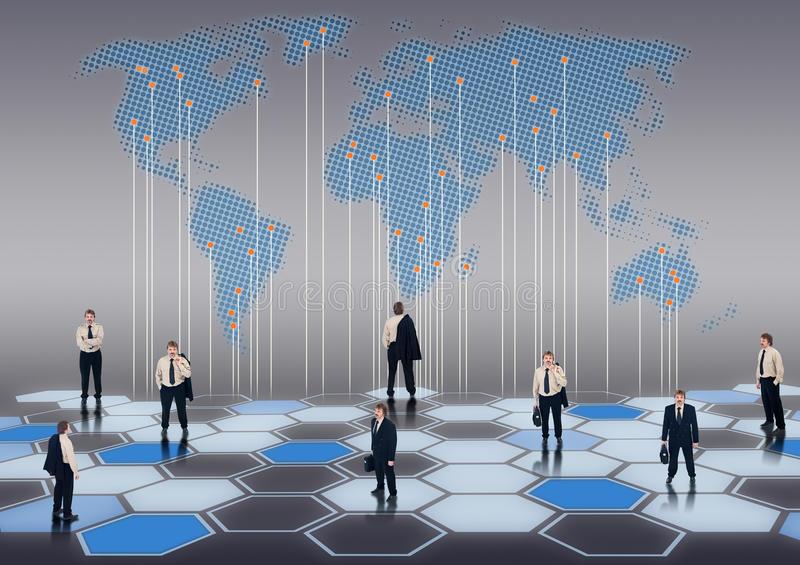 Business network. Worldwide business network of businessmen in different positions vector illustration