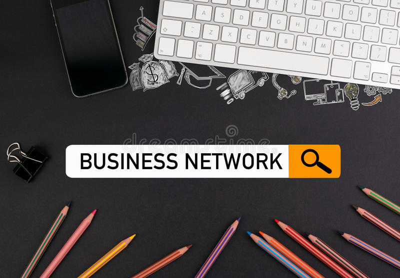 Business network concept. colorful pencils and a computer keyboard with a mobile phone on a black table vector illustration