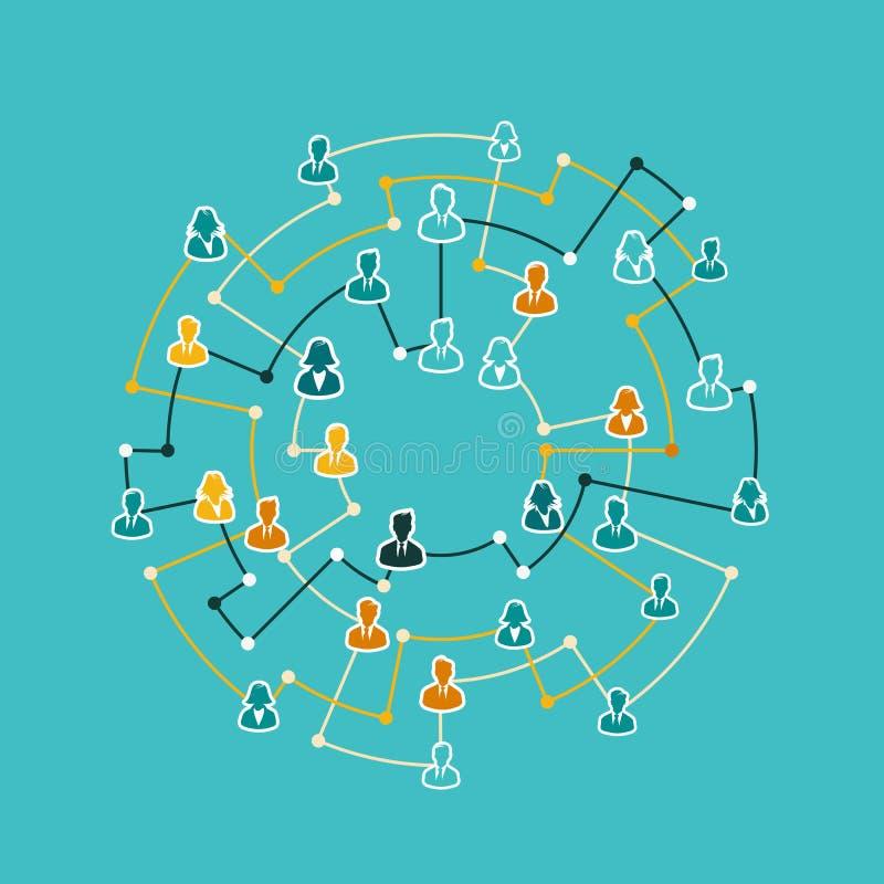 Business network concept illustration flat design vector illustration