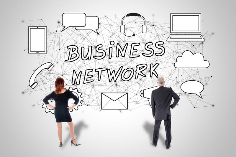 Business network concept watched by business people royalty free illustration