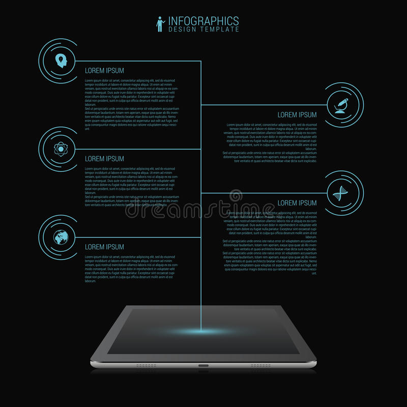 Business network timeline infographic template. Futuristic. Tablet. Vector vector illustration