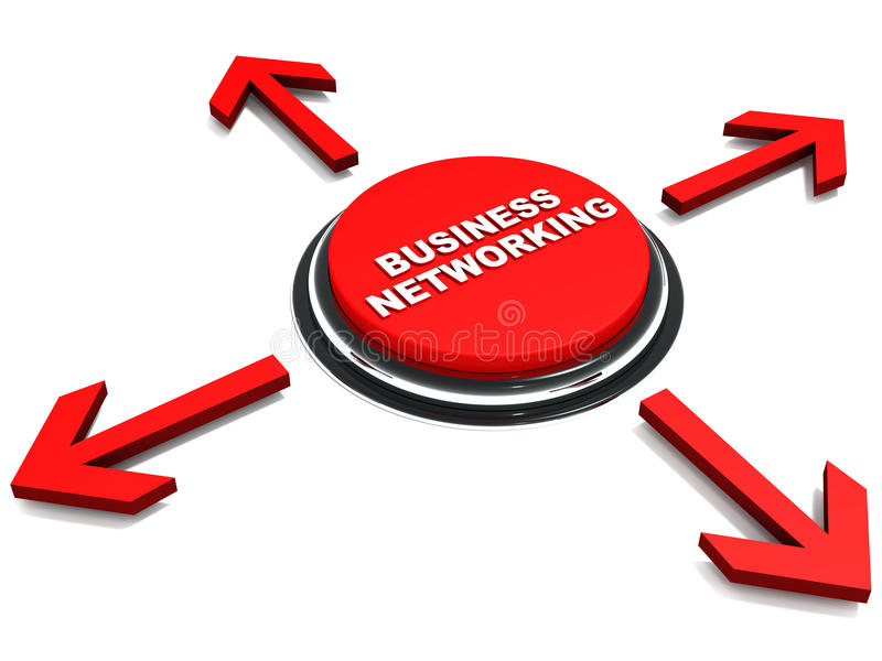 Business networking. Button in red with arrows pointing in all four directions, concept of connecting for business vector illustration
