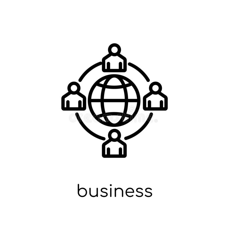 Business networking icon. Trendy modern flat linear vector business networking icon on white background from thin line general co. Llection, editable outline royalty free illustration