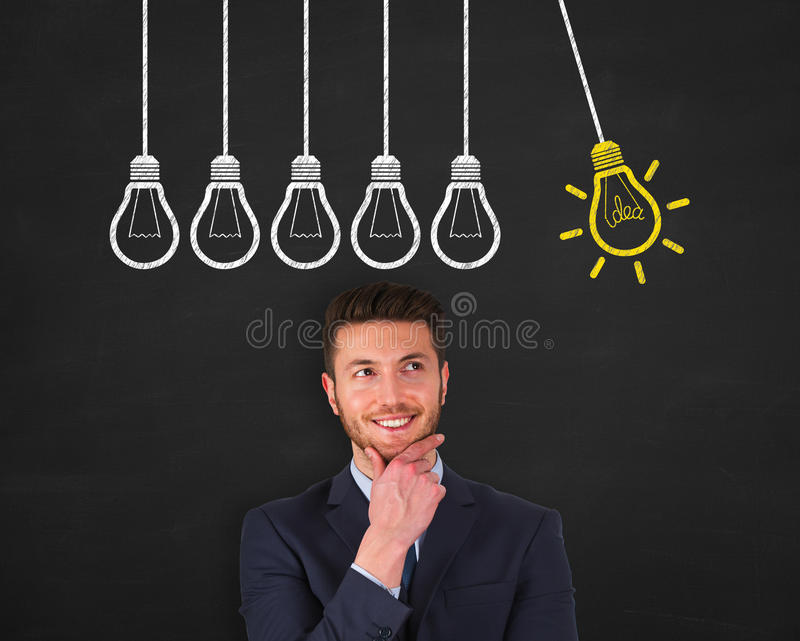 Business New Idea on Chalkboard stock photography