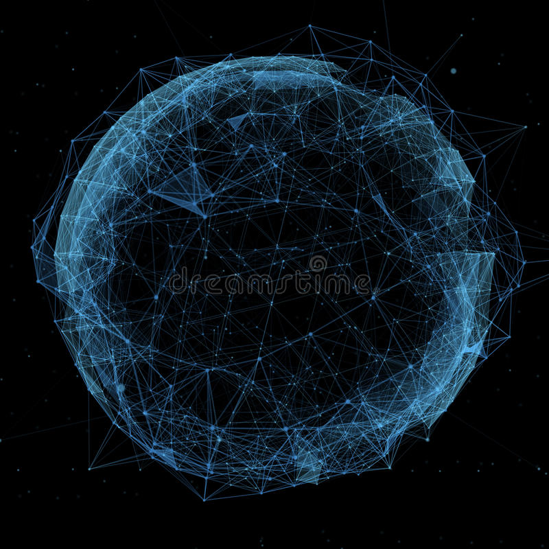 Business, new technology and virtual sphere globe royalty free illustration