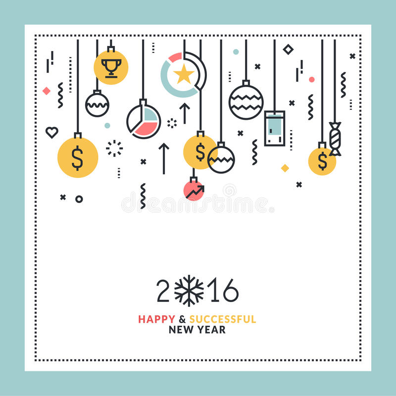 Business New Year's flat line design greeting card. Vector illustration for website banner and marketing material stock illustration