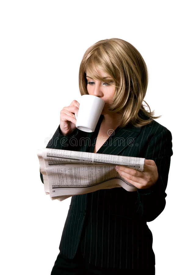Business news and coffee stock images