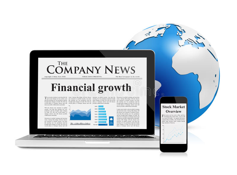 Business news feed on mobile devices and globe royalty free illustration