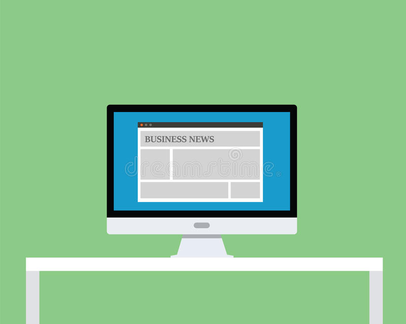 Business news illustration with online news on screen of monitor pc. Vector vector illustration