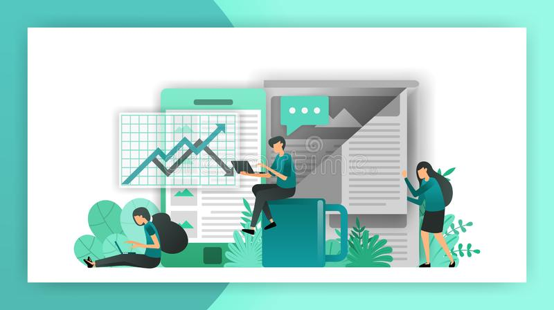 Business news. read newspapers about stock price movements in financial markets, determine and choose corporate actions in buildin. G the company`s vision stock illustration