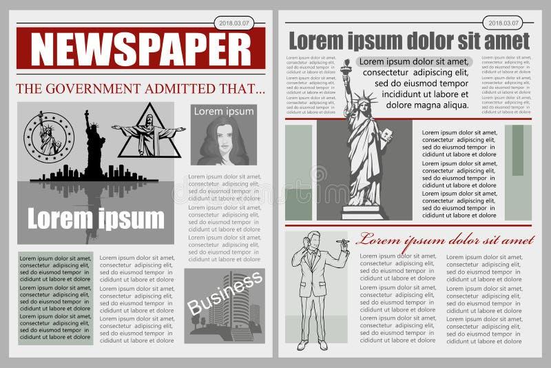 Business Newspaper. Financial Information. Vector newspaper template. Gray newsprint vector illustration