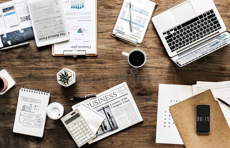Business Newspaper Page Near Black Click Pen and Coffee royalty free stock image