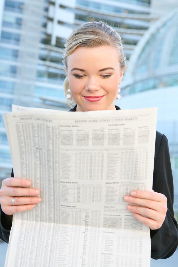 business newspaper pretty reading woman στοκ εικόνες