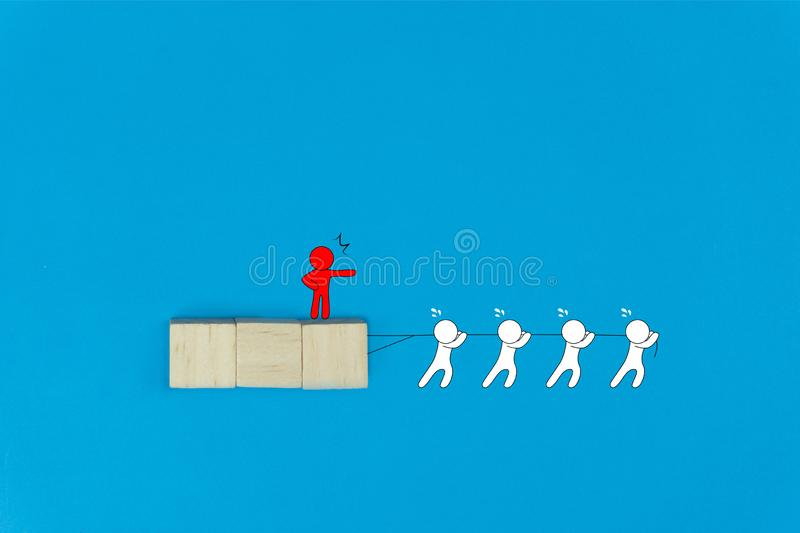 Business not teamwork concept. The boss stood to order his followers to work tirelessly. Red cartoon character command his team royalty free stock photos
