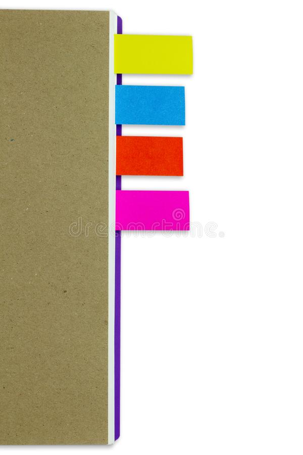 Business notebook brown cover and multi colour bookmark. stock image