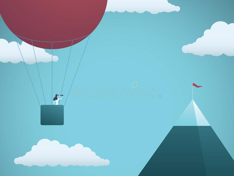 Business objective and challenge vector concept. Businesswoman in balloon flying towards mountain with flag. Symbol of. Business target, mission, strategy stock illustration