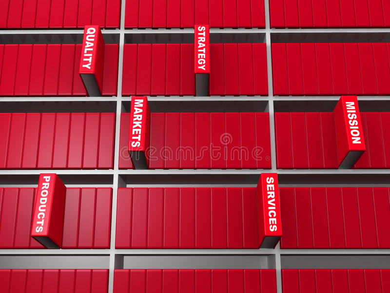 Business objective concept. Red book stand out from bookshelf 3d illustration stock illustration