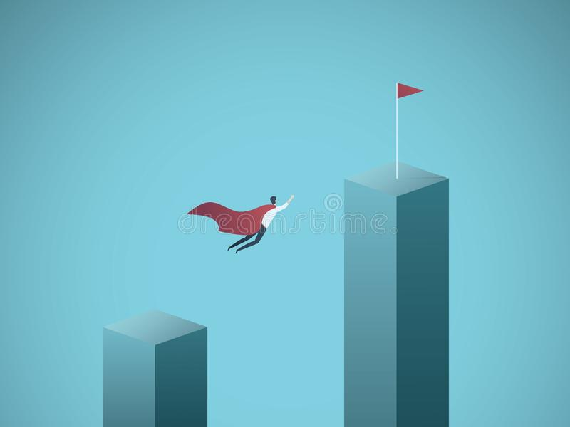 Business objective and leadership vector concept. Businessman superhero flying towards his goal, mission. Symbol of. Success, power, strength, motivation stock illustration