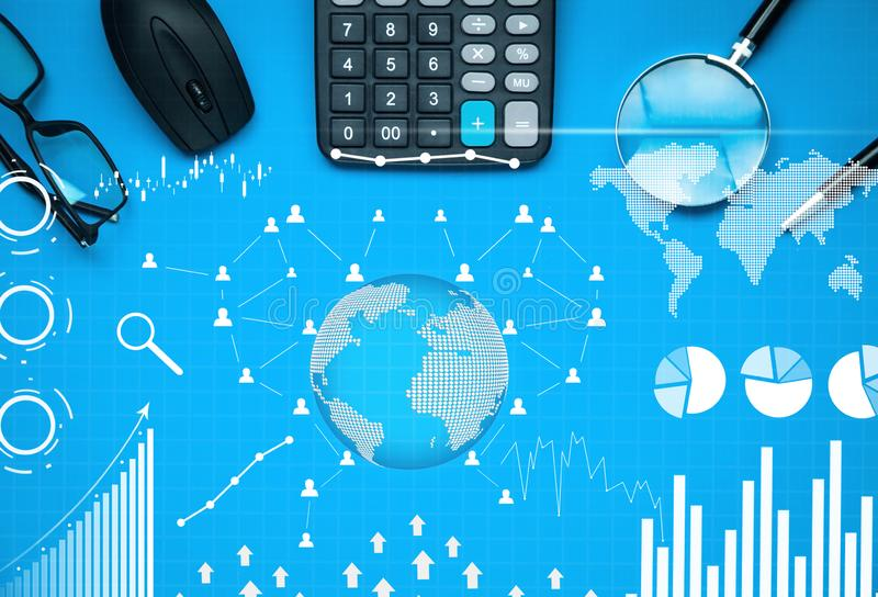 Business objects with financial statistics. Business graphs, social network and connection on blue background. Business concept stock photo