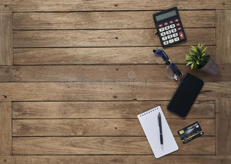 Business objects office on desk table royalty free stock images