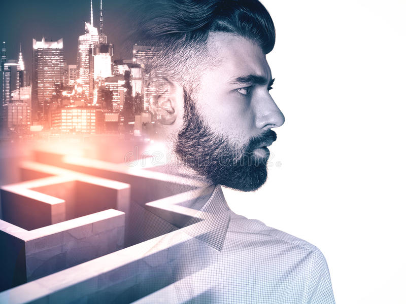 Business obstacle. Side view of young businessman on side turned city and maze background with abstract sunlight. Business obstacle concept. Double exposure stock images