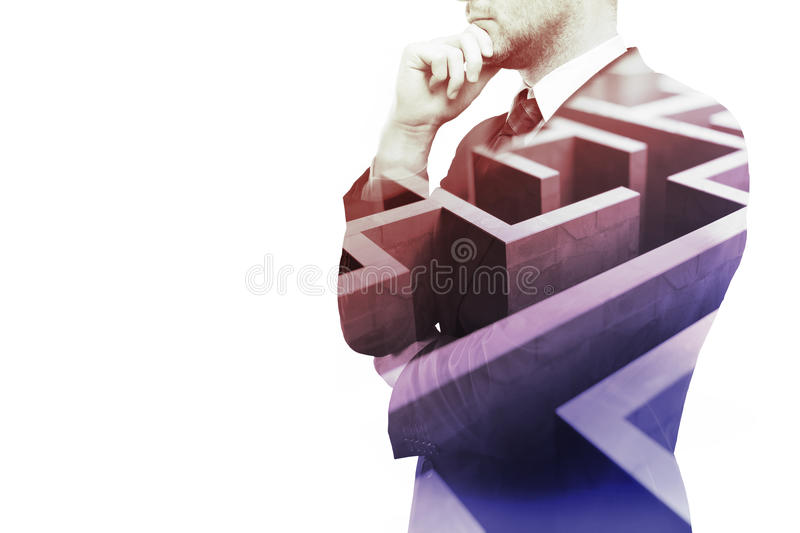 Business obstacle. Young businessman thinking about ways to overcome business obstacle. Isolated on white background with maze and copy space. Double exposure royalty free stock photography