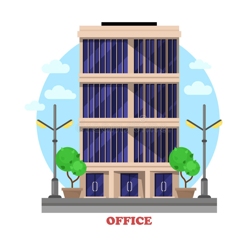 Business office architecture facade or building vector illustration