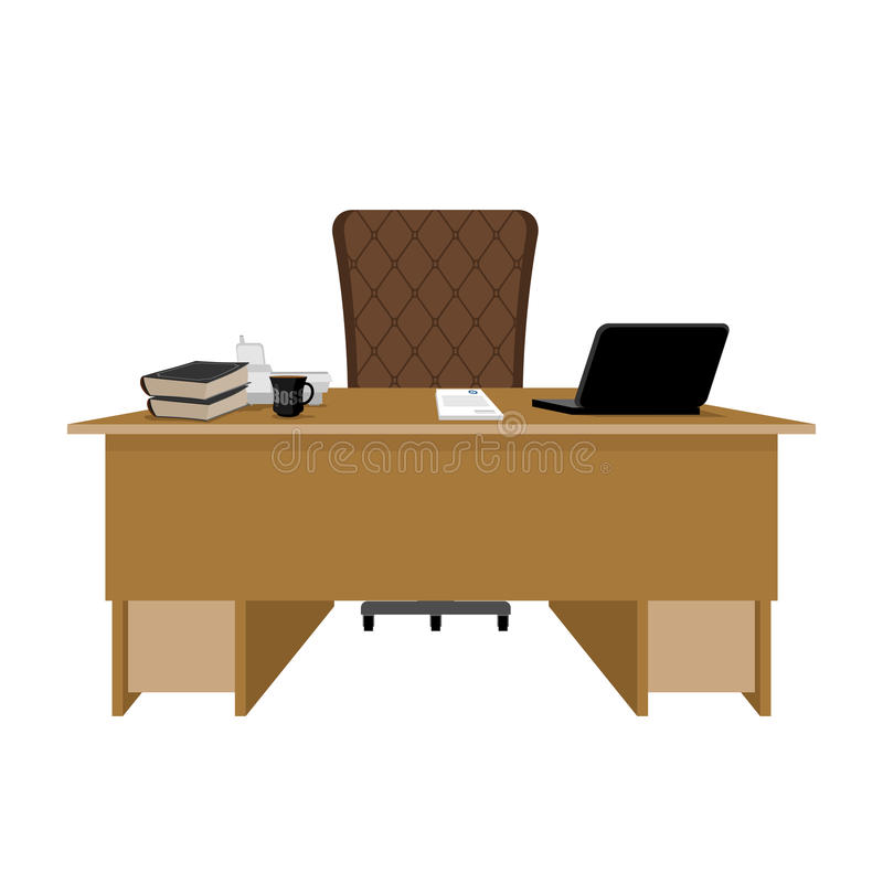 Business office. Boss table. leader supervisor. Director desktop. Laptop and phone. Cup of coffee and Chair. chief job stock illustration
