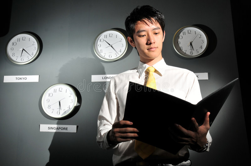 Business Office with Clock 141 stock photography