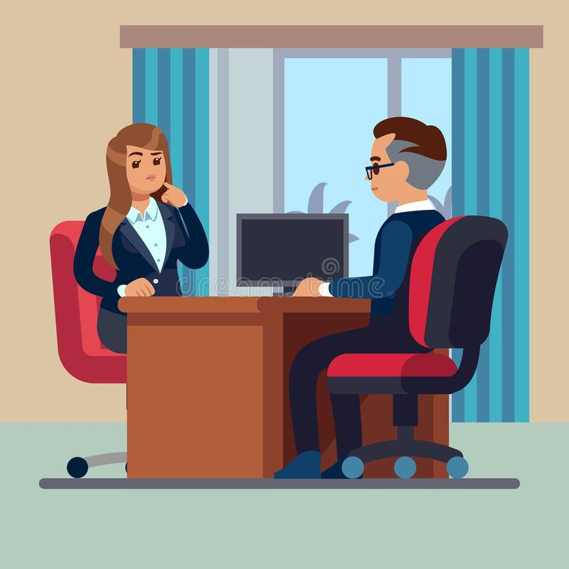 Business office conversation. Sitting businessman consultant and woman meet to interview talking work vector concept vector illustration