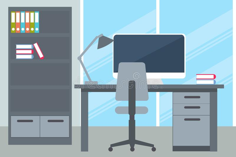 Business office with desk and computer vector illustration
