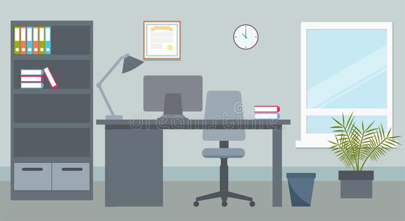 Business office with desk and computer stock illustration