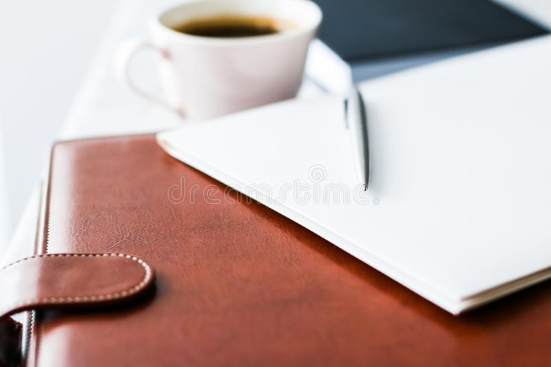 Business office desk, work productivity concept. Workspace, meeting and corporate lifestyle concept - Business office desk, work productivity royalty free stock photos