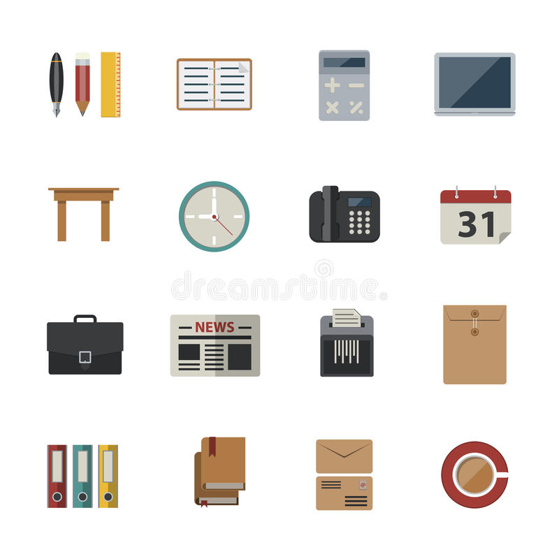 Business and office. Flat Icons set for Website and Mobile applications. vector illustration