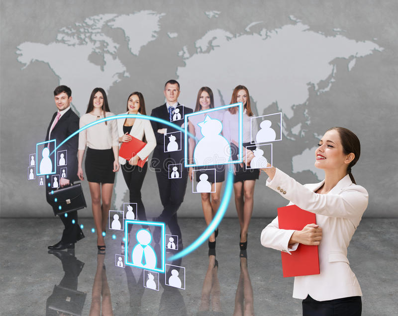 Business office of the future. Interface business office of the future, a women in office with map on background pushing on virtual buttons stock image