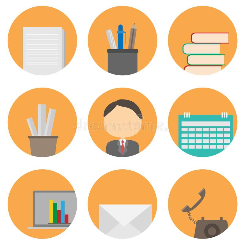 Business and office icon set. vector illustration