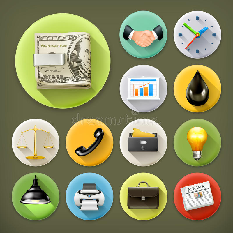 Business and office, icon set stock illustration