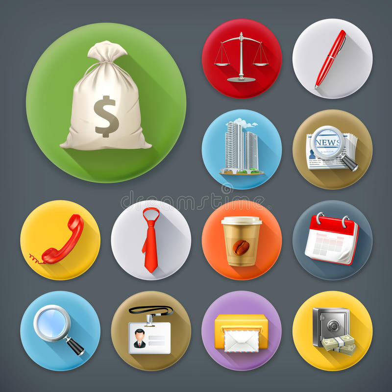 Business and office, icon set royalty free illustration