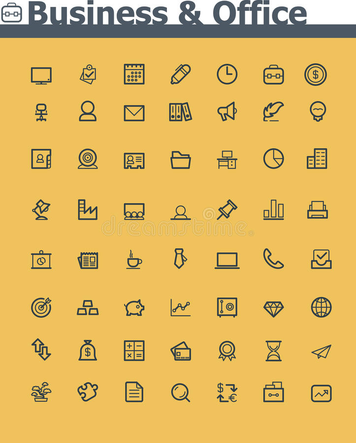 Business and office icon set. Set of the simple Business and office icons