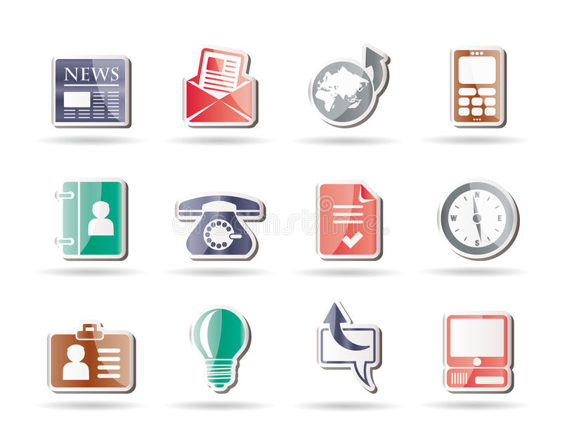 Download Business and office icons stock vector. Image of email - 16709957