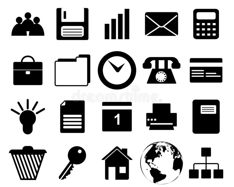 Business and office icons set. Business and office set of different vector web icons royalty free illustration