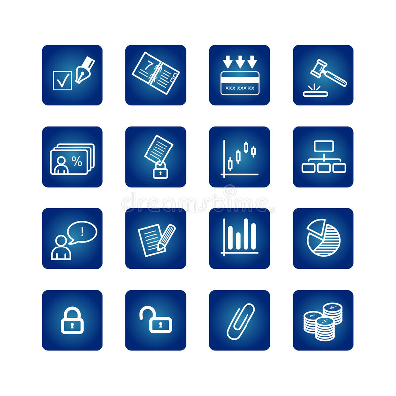 Business and office icons set. On the blue background