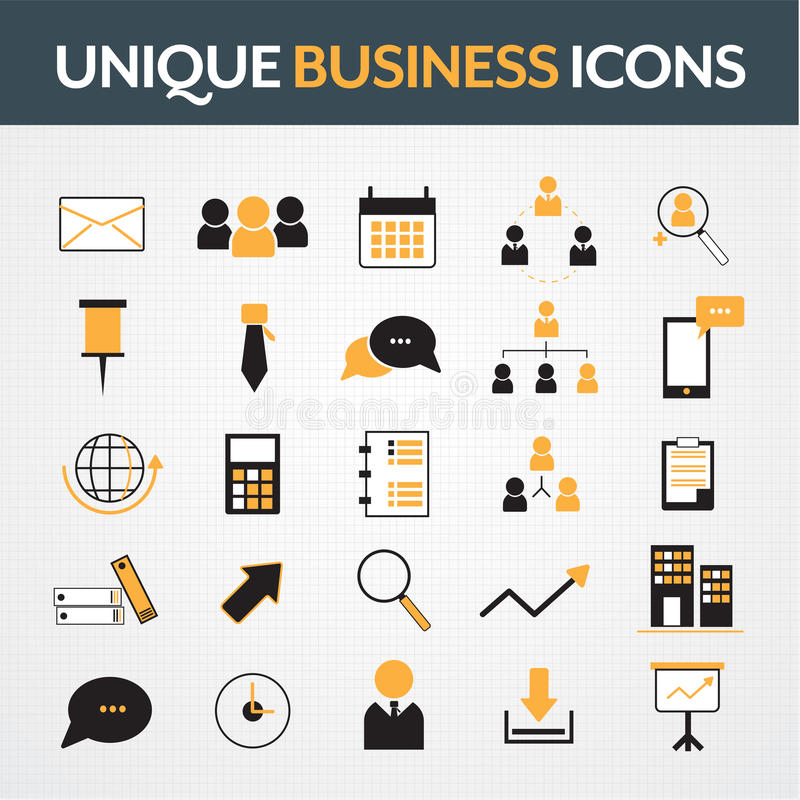 Business office icons set royalty free stock photo