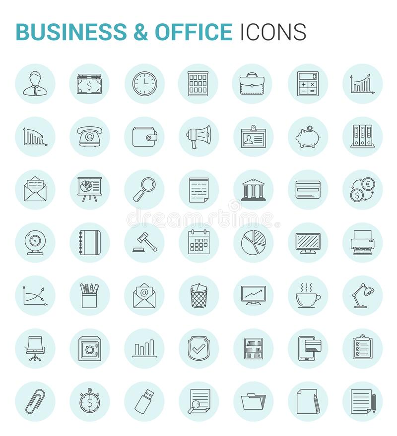 Business and Office Line Icons vector illustration