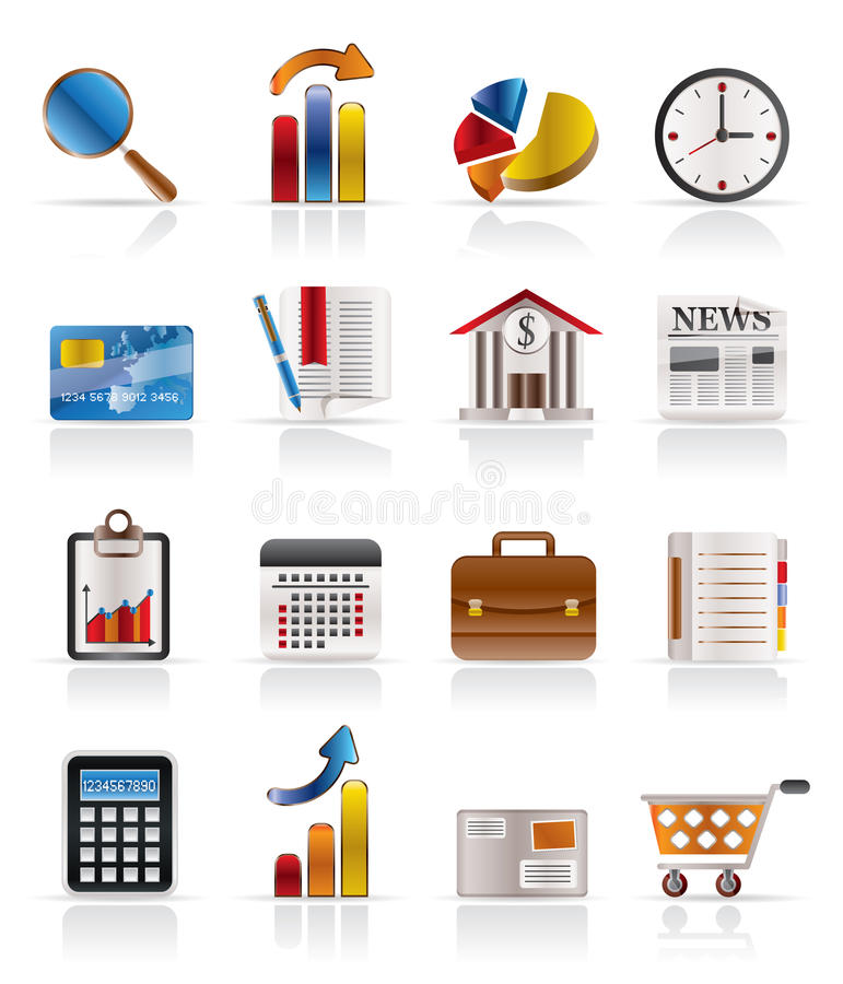 Business and Office Realistic Internet Icons stock illustration