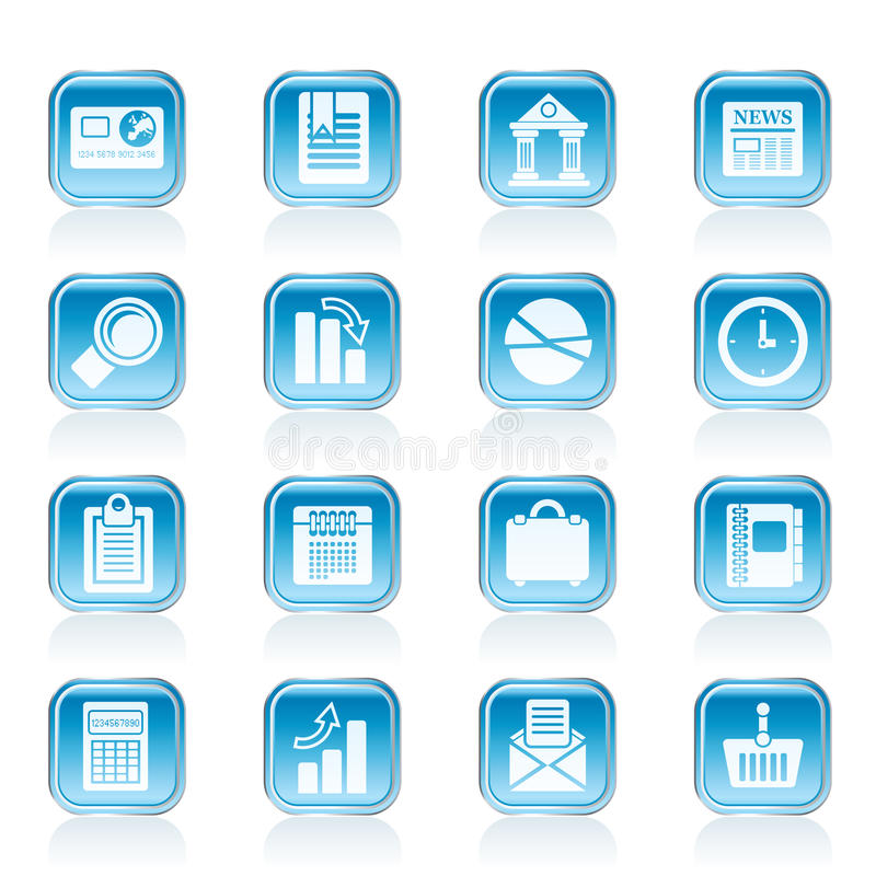 Business and Office Realistic Internet Icons vector illustration