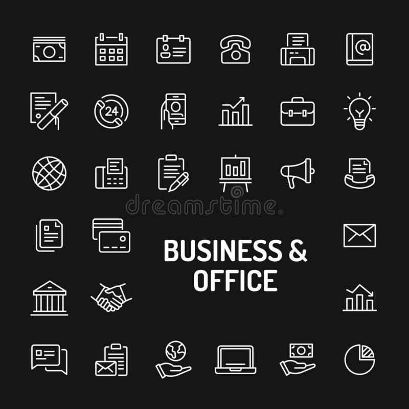Business & Office Simple Line Icon Set royalty free illustration