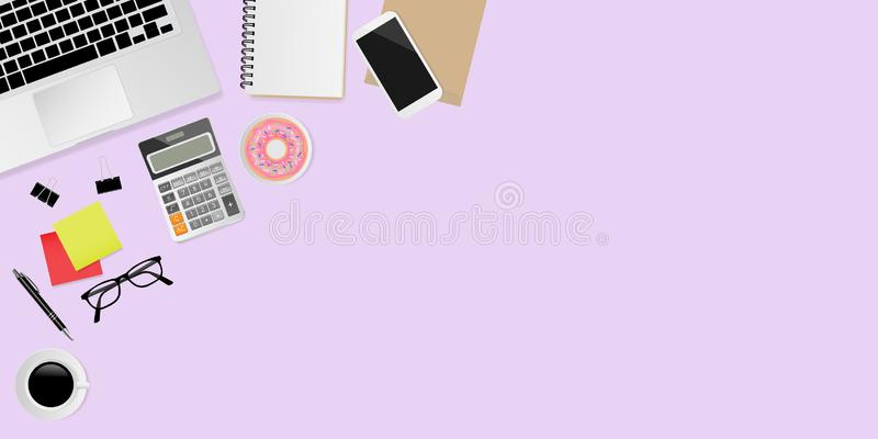 Office supplies on purple background, top view header. Vector illustration royalty free illustration