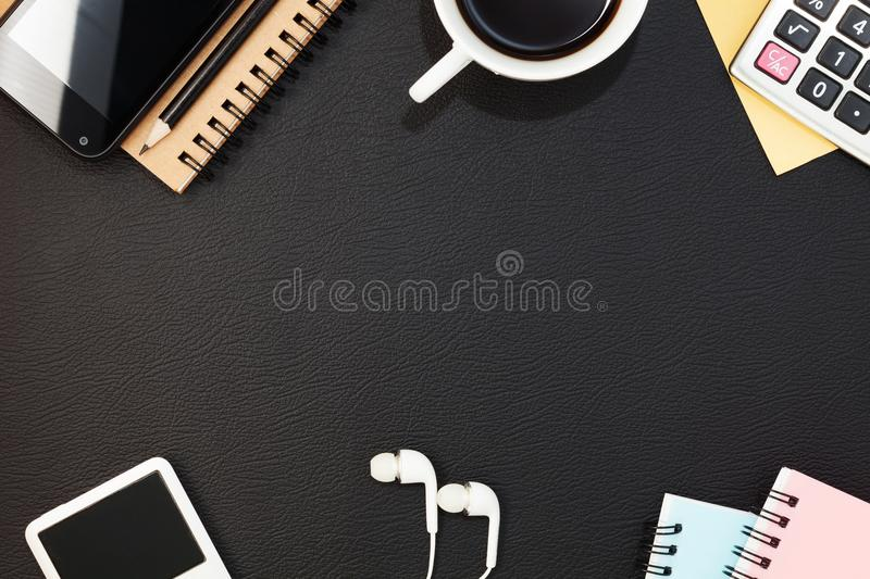 Business office table with Objects for business and office Equip royalty free stock photos
